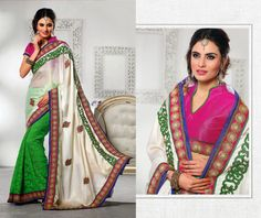 Gorgeous embroidered #partywear designer latest Indian #saree shop online at #craftshopsindia