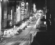 Queen Street at night, 1949