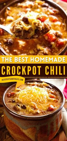 This is the Best Crockpot Chili to add to your comfort food recipes! This easy main dish is slow-cooked all day for an amazing flavor that everyone will be sure to love. Pin this easy comfort food for dinner!