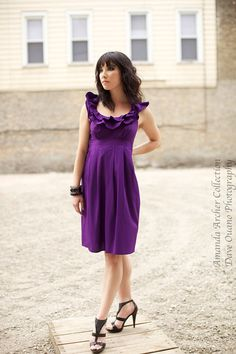 Poetic Ruffles Cotton Dress in Violet,  Purple, Plum, Beet, Eggplant, Grass Green, Green Olive, Light Sage, Green Apple. Custom sizing, made to order by AmandaArcher, $189.00
