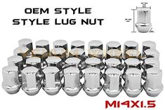 24 Piece 14x1.5 Open End Lugs Nuts Chevy GMC GM Factory Style Lugs