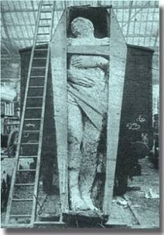 "The fossilized Irish giant from 1895 is over 12 feet tall. The giant was discovered during a mining operation in Antrim, Ireland. This picture is courtesy ""the British Strand magazine of December 1895″ Height, 12 foot 2 inches; girth of chest, 6 foot 6 inches; length of arms 4 foot 6 inches. There are six toes on the right foot"