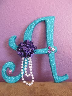 Peacock colored sparkly yarn wrapped wood letter with purple pink accessories… Painting Accessories, Pink Accessories, Bedroom Accessories, Letter A Crafts, Monogram Letters, Initial Crafts, Glitter Letters, Yarn Wrapped Letters, Shabby