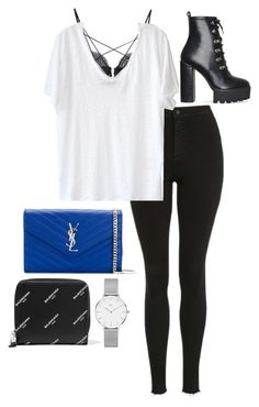 """""""Untitled #943"""" by petitaprenent on Polyvore featuring Yves Saint Laurent, Topshop, For Love & Lemons, American Vintage, Daniel Wellington, Balenciaga and amei"""