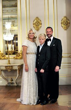 Crown Princess Mette-Marit,  Marius Høiby and Crown Prince Haakon at the couple's 10th Wedding anniversary in 2011.