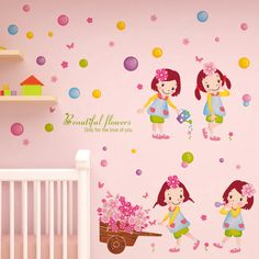 Loyal Peach Flower Tree Branch Wall Stickers Diy Cartoon Girl Wall Decals For House Living Room Kids Bedroom Decoration For Sale shijuehezi