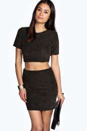 Grace Glitter Crop Top And Mini Skirt Co Ord
