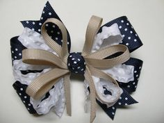 Hey, I found this really awesome Etsy listing at https://www.etsy.com/listing/159094764/navy-blue-swiss-polka-dot-hair-bow-khaki
