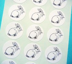 """Bunny Rabbit Easter Animal Sticker/Seal -  1"""" One Inch Round Sticker Envelope Seals - B&W, Sheets of 15 - by Blossom Arts"""