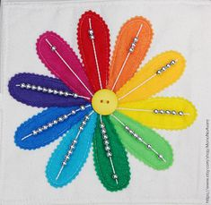 Color Wheel Flower with Counting Beads by MonoNoAvare on Etsy