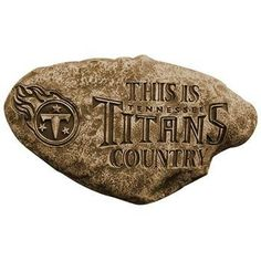 Tennessee Titans NFL Country Garden Stone by Team Sports America. $34.95. Garden. 100% Resin. Resin. Weather Proof. On the lawn or in the garden our new natural shaped 13 inch Country Stones are a great way of rooting for your team. Made of 100% resin. These licensed durable stones are expertly carved and skillfully stained by trained artisans which gives them a realistic natural stone look. They look great by themselves or in a group along a walkway or border.