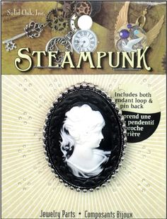 Shop   Category: Charms   Product: Solid Oak Charm Steampunk Cameo Black & White