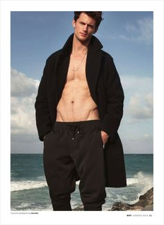 """Garrett Neff in """"Over and Under"""" shot in Miami Beach by Milan Vukmirovic for the OUT Magazine August 2014 Issue"""