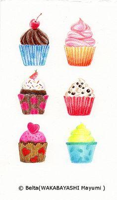 color cupcakes.  for this drawing I used: Faber castell polychromos Stonehenge paper  © Belta(WAKABAYASHI Mayumi )