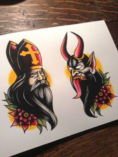 Saint Nicholas & Krampus tattoo flash print van BosWorkshop op Etsy