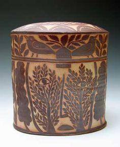 Matthew Metz Lidded Box porcelain, terra sigillata with sgraffito decoration