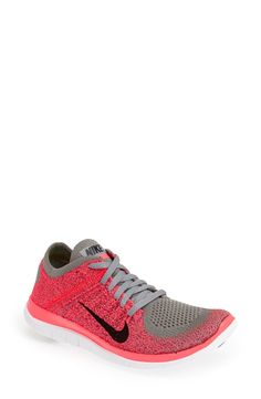 These pink Nike 'Free Flyknit 4.0' running shoes fit like socks and are light weight. Love them!