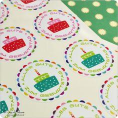 Motivaufkleber Geburtstag: Aufkleber Alles Gute zum Geburtstag, in grün-türkis für Jungs und in rot-rosa für Mädchen ♥ 12 runde Aufkleber, 40 mm ♥ ...