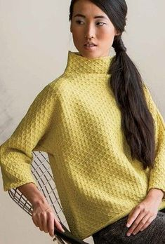 Knitting pattern for Diamond Pullover with Funnel collar