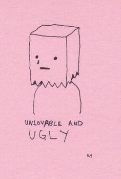 """""""I'm an ugly girl, My face makes you hurl, Sad I have it, I should bag it. Acne everywhere, Unwanted facial hair. I'm a relation to Frankenstein's creation."""" - Al Yankovic Drawing Sketches, Art Drawings, Pink Drawing, Arte Emo, Art Tumblr, Vent Art, Sad Art, Pink Aesthetic, Aesthetic Drawing"""