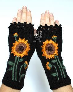Knitted Fingerless Gloves, Sunflower, Black, Clothing And Accessories, Accessories,Gloves & Mittens, Gift Ideas, READY TO SHIP by nbGlovesAndMittens on Etsy https://www.etsy.com/listing/230432612/knitted-fingerless-gloves-sunflower