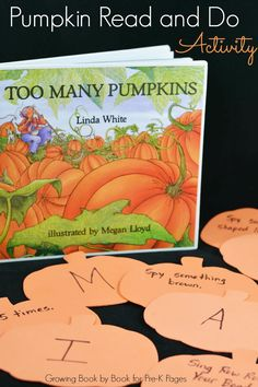 Pumpkin Read and Do Activity for Preschool and Kindergarten. A fun, interactive game to help children learn basic skills like letters and numbers. (Halloween Crafts For Kindergarteners) Fall Preschool, Preschool Literacy, Preschool Books, Preschool Themes, Preschool Lessons, Preschool Education, Early Literacy, Science Lessons, Kindergarten Activities