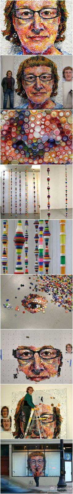 """Created by layered tones/values of color! Tupperware set inside each other. Great use of """"found objects""""! i love this piece - reminded me of chuck close. Chuck Close, Plastic Art, Plastic Bottle, Recycling, Recycled Art Projects, Bottle Cap Art, Collaborative Art, Art Club, Art Plastique"""