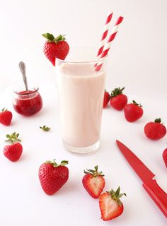 Fresh homemade strawberry milk. Deliciously silky smooth, creamy & sweet. Super simple to make with no artificial flavoring.