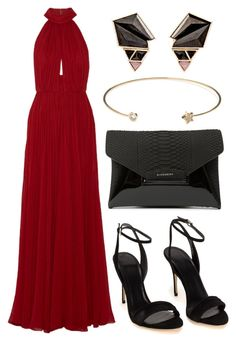 """Top #16"" by deedee-pekarik ❤ liked on Polyvore featuring Elie Saab, Givenchy, Jeweliq, Nak Armstrong, red, reddress, blackaccessories and redgown"