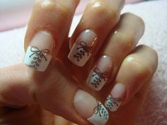 Nails: Elegant Twist to the French Manicure W/ A Lace Up Look
