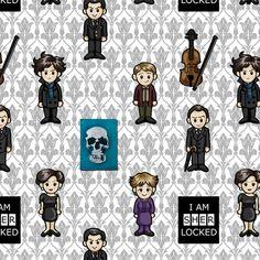 Cutesy Holmes - BBC Sherlock fabric by jaana on Spoonflower - custom fabric---Need yards of this :)