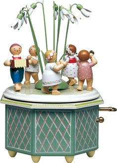 Wendt and Kühn Wandering Children Music Box The music works are made in Switzerland with 36 tones - the finest in the music box world. Five Wendt and Kühn children parade under snowdrops (closely rela