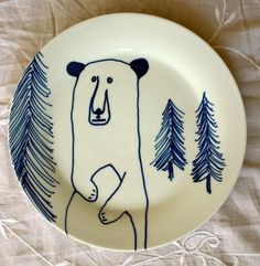 Hand Painted Side Plate Blue Bear by jimbobart on Etsy. $35.50, via Etsy.