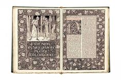 """""""The Well at the World's End"""" (1896) by William Morris, author & designer (Britain, 1834-1896). Edward Burne-Jones, illustrator (Britain, 1833-1898). Published by Kelmscott Press, Hammersmith, London, 1896. Hand made paper, woodcut, wood-engraving, ink. #William_Morris #Kelmscott_Press #Edward_Burne_Jones"""