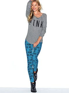 Thermal Sleep Legging - PINK - Victoria's Secret from Victoria's Secret. Saved to Get in my closet. Cute Pajamas, Pajamas Women, Cute Sleepwear, Pink Leggings, Vs Pink, Victoria's Secret Pink, Everyday Fashion, Couture, My Style