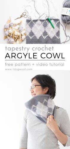 Silverstone Argyle Cowl - free tapestry crochet + video tutorial   www.1dogwoof.com