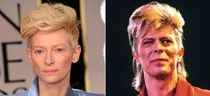 Tilda Swinton - David Bowie Tilda Swinton, Look Alike, David Bowie, Kai, Celebrity, Celebs, Famous People, Chicken