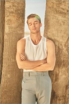 Patrick Schwarzenegger photographed by David Needleman for Flaunt magazine. Patrick wears HUGO BOSS tank top and pants Patrick Schwarzenegger, Maria Shriver, Hottest Male Celebrities, Celebs, Tom Ford, Jim Hawkins, New Fantasy, Midnight Sun, Hollywood Icons