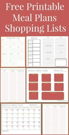 Free Printables including a weekly meal plan, month menu plan, freezer list, pantry list, shopping list, and more free printables to help you organize your meals and grocery shopping.