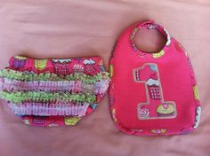 Set of Cupcake Bib and Diaper Cover for 1st Birthday on Etsy, $25.00
