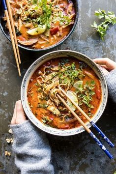 This 20 Minute Thai Peanut Chicken Ramen is for those nights when you need a cozy healthy dinner and you need it fast. All made in one pot using healthy pantry staple ingredients.overhead photo of 20 Minute Thai Peanut Chicken Ramen with hands on soup bow Noodle Recipes, Soup Recipes, Dinner Recipes, Cooking Recipes, Cooking Time, Cooking Classes, Dinner Ideas, Cooking Box, Cooking Steak