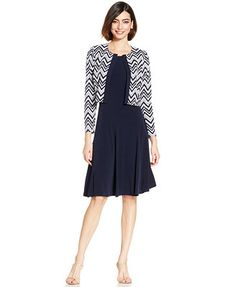 Jessica Howard Petite Chevron Sequined Dress and Jacket