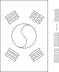 korea coloring page Korean flag to color Korean Coloring Pages