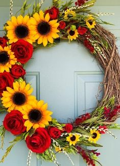 60 Cheerful Spring Wreath Ideas to Add a Flourishing Bloom To Your Home Decor - Ethinify Diy Spring Wreath, Fall Wreaths, Deco Wreaths, Christmas Wreaths, Wreath Crafts, Diy Wreath, Wreath Ideas, Umbrella Wreath, Fall Crafts
