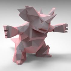 Specially modeled Pokémon model of Nidoking for 3D printing original model. The model is available for download (free) #pokemon @3dpark