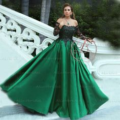 1eee070cc3f Charming Off Shoulder Black Appliques Green Satin Ball Gown Prom Gown  Dresses