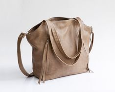 Beige leather tote bag - Soft leather bag - Crossbody bag  New collection << Original price $310 Promotion rate $275 Handmade by MaykoBags / Etsy / Worldwide shipping