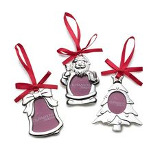 Set of 3 Silver Plated Frame Christmas Ornaments
