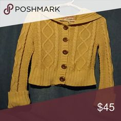 Knit Hoodie Tan button up long sleeve knit with hood Aeropostale Sweaters Cardigans
