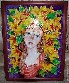 Картина «Девушка-Осень» - Витраж,картина,Витражная роспись,девушка,осень